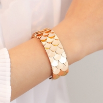 Punk Style Fish Scales Shaped Open Bracelet