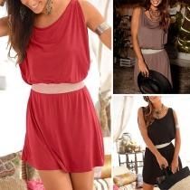 Casual Style Sleeveless Round Neck Elastic Waist Dress