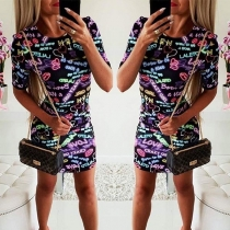Fashion Colorful Letters Printed Short Sleeve Round Neck Slim Fit Dress