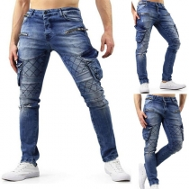 Fashion Solid Color High Waist Slim Fit Side Pockets Men's Jeans