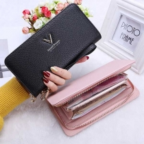 Fashion Solid Color Letters Print Zipper Top Faux PU Wallet