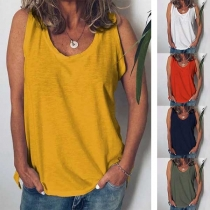 Simple Style Solid Color Round Neck Tank Top