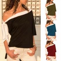 Sexy Lace-up Oblique Shoulder Contrast Color T-shirt