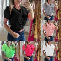 Fashion Solid Color Short Sleeve Round Neck Crop Top