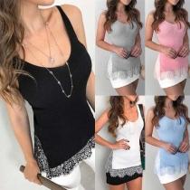 Fashion Lace Spliced Hem Solid Color Slim Fit Tank Top