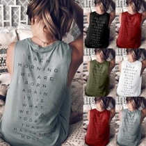 Fashion Letters Printed Sleeveless Round Neck Tank Top