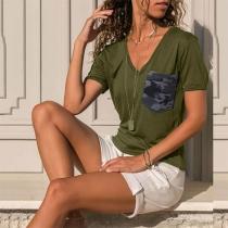 Fashion Short Sleeve V-neck Slim Fit T-shirt