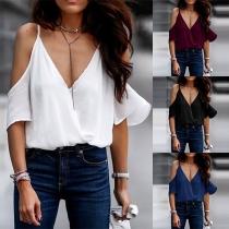 Sexy Off-shoulder Short Sleeve V-neck Solid Color SLing Top