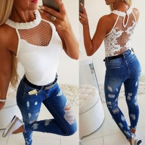 Sexy Backless Lace Spliced Slim Fit Tank Top