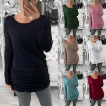 Simple Style Long Sleeve Round Neck Solid Color T-shirt