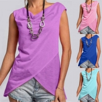 Casual Style Solid Color Round Neck Irregular Hem Sleeveless Top