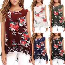 Fashion Round Neck Lace Spliced Floral Print Sleeveless Top