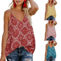 Sexy V-neck Loose-fit Floral Print Cami Top