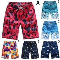 Fashion Elastic Waist Printed Men's Beach Shorts