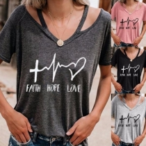 Fashion Letters Printed Short Sleeve V-neck T-shirt