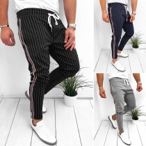 Fashion Drawstring Waist Men's Striped Casual Pants