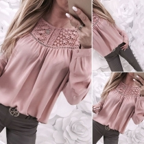 Fashion Long Sleeve Round Neck Lace Spliced Blouse