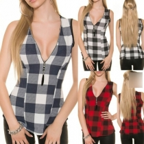 Fashion Sleeveless Zipper V-neck Plaid Top
