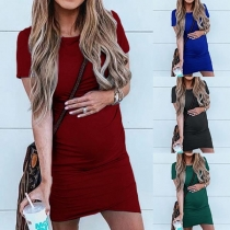 Fashion Solid Color Short Sleeve Round Neck Maternity Dress