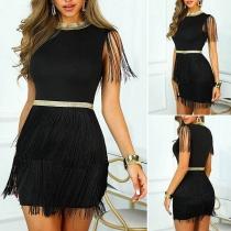 Fashion Sleeveless Mock Neck Slim Fit Tassel Dress
