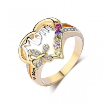 Fashion Rhinestone Inlaid Heart-Shaped Ring