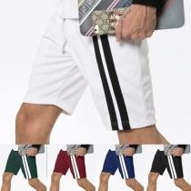 Casual Elastic Waist Contrast Color Men's Shorts