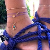 Fashion Starfish Life-tree Pendant Anklet Set 4 pcs/Set