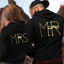 Fashion Letters Printed Long Sleeve Couple Hoodies