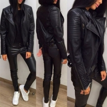 Fashion Long Sleeve Slim Fit PU Leather Jacket
