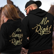 Fashion Letters Printed Long Sleeve Couple Hoodie