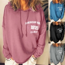 Fashion Letters Printed Long Sleeve Loose Hoodie