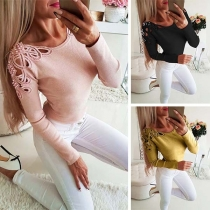 Sexy Hollow Out Long Sleeve Round Neck Beaded T-shirt(It falls small)