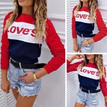 Fashion Contrast Color Letters Printed Long Sleeve Sweatshirt