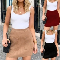 Fashion Solid Color High Waist Front-pocket Knit Skirt