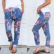 Fashion Drawstring Waist Printed Casual Pants
