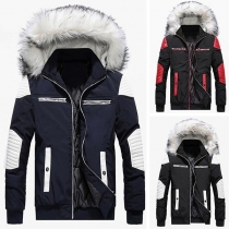 Fashion Contrast Color Long Sleeve Faux Fur Spliced Hooded Man's Coat