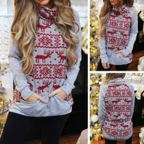 Fashion Snowflake Elk Printed Long Sleeve Turtleneck Sweater
