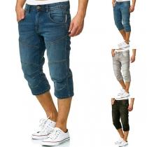 Fashion Middle-waist Man's Denim Capri Pants