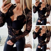 Sexy Deep V-neck Long Sleeve Semi-transparent Lace Bodysuit