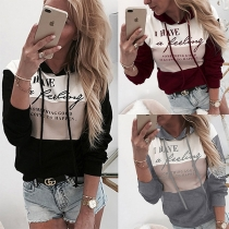 Fashion Contrast Color Long Sleeve Letters Printed Hooded Top