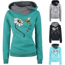Chic Style Long Sleeve Hooded Printed Sweatshirt