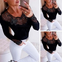 Sexy See-through Gauze Spliced Long Sleeve Rhinestone T-shirt