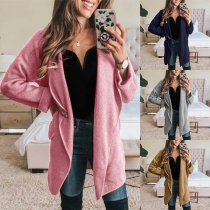 Fashion Solid Color Long Sleeve Lapel Thin Cardigan