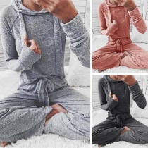 Fashion Long Sleeve Hooded Sweatshirt + Pants Two-piece Set