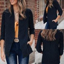 Fashion Long Sleeve Striped Cardigan Blazer