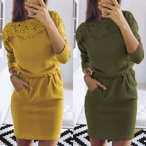 Sexy Long Sleeve Round Neck Lace Spliced Slim Fit Dress