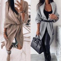 Fashion Solid Color Dolman Sleeve Loose Knit Cardigan(Without belt)