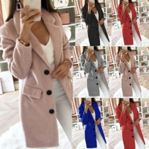 Fashion Solid Color Notched Lapel Double-breasted Woolen Coat