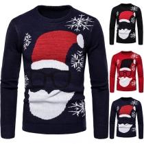 Cute Santa Claus Pattern Long Sleeve Round Neck Man's Knit Top
