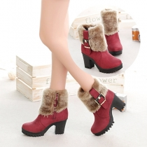 Fashion Thick Heel Round Toe Faux Fur Spliced Ankle Boots Booties